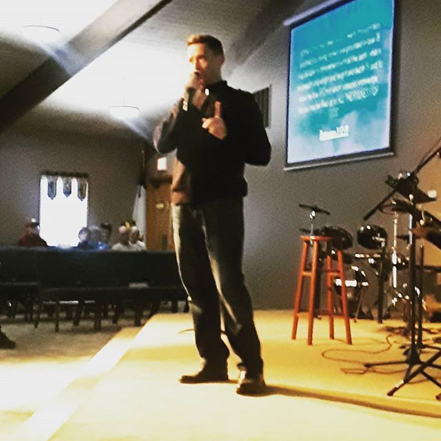 Pastor Josh delivering Sunday's message.
