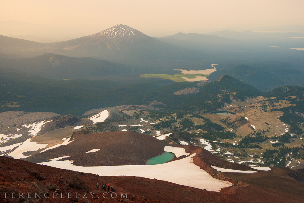 Smoky morning with Mt Bachelor and Sparks Lake in the background