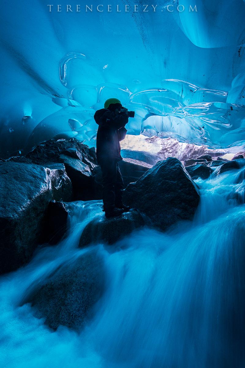 Por in Mendenhall Ice Cave, Juneau, AK.