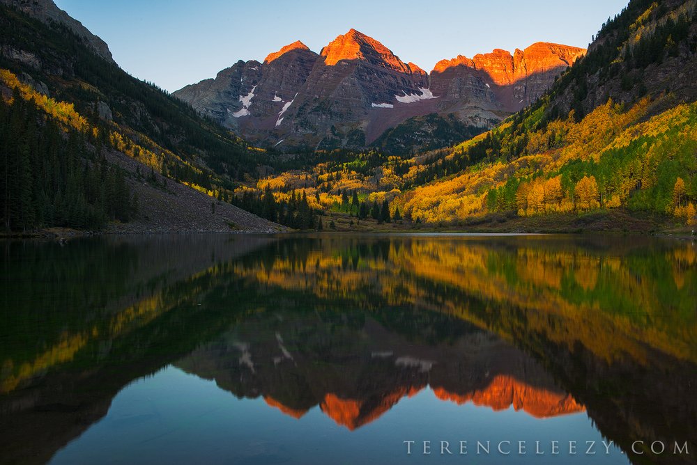 Maroon Bells at sunrise.