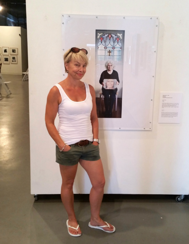 Me with my portrait of the artist, Mary McIntyre, on loan to the NZPG