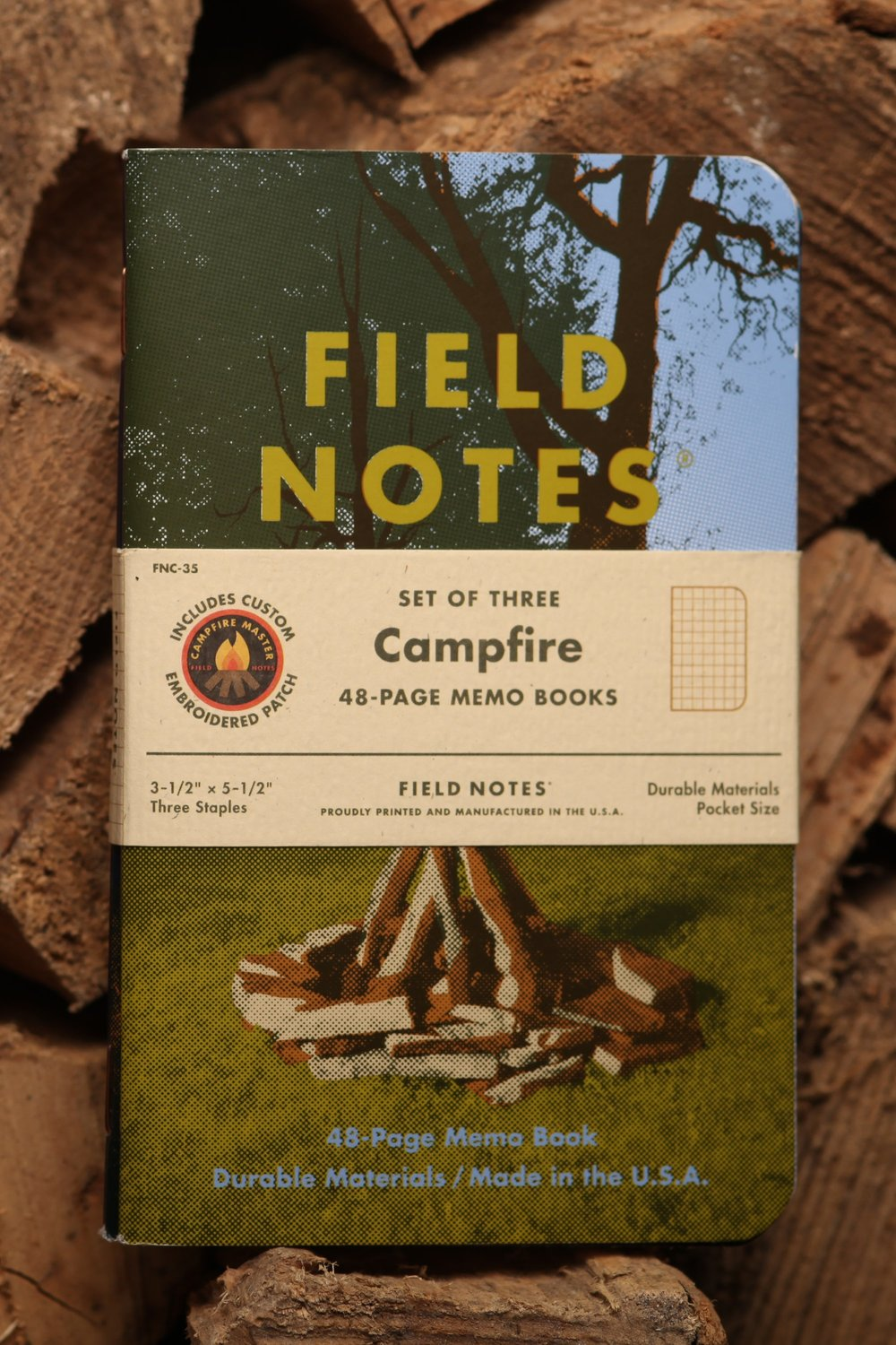 Campfire - Field Notes' 35th Quarterly Edition celebrates a chemical process we witness nearly every day, but rarely take the time to appreciate. Fire gives us heat and light. Fire can frighten and endanger us. With a bit of olive oil, it makes asparagus palatable. But in its most primal, elemental state, it inspires us to gather around and watch it while we share stories, ideas and friendship.