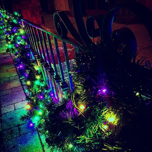 holiday cheer is still in the air. Too bad it'll be all packed away soon. #christmastime #christmascheer #christmasspirit #soon #packed #intheair #cheer #holidaycheer #holidayseason #holidayspirit #holidays #happyholidays #lights #light #lighting #holidaylights #christmaslights #purple #green #yellow #festive #elcharro #fraser #homesweethome #homefortheholidays #night #stone #texture #gate