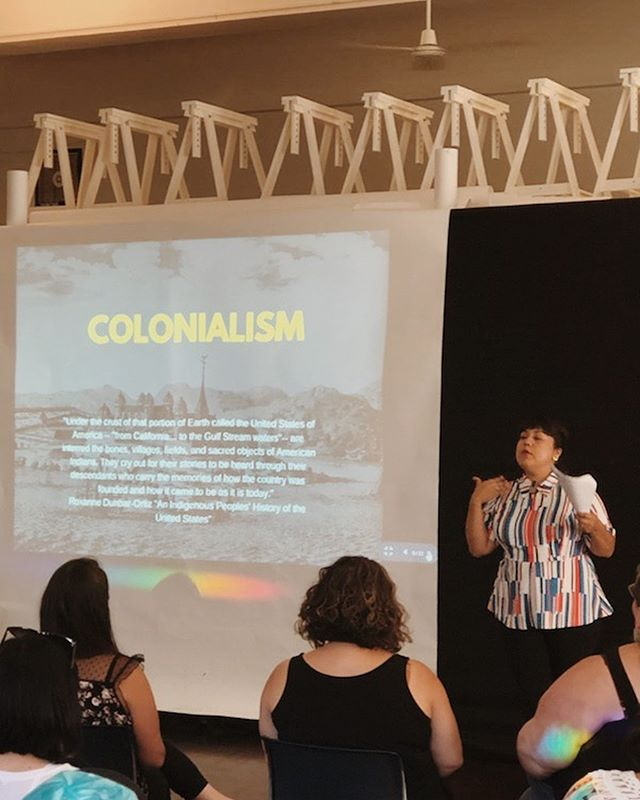 Thank you to everyone who came out last night to listen to @nalgonapositivitypride speak about historical trauma, colonialism, and eating disorders and how they all connect! If you attended last nights talk feel free to leave a comment down below about your favorite point during the workshop, so we can continue the discussion!