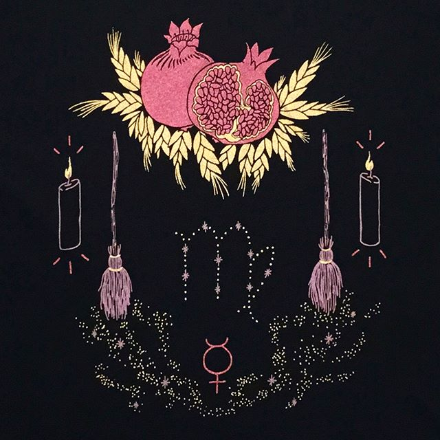 🛎 VIRGO 🍎  Time to clean up the mess we made!! ♍︎ descends to save the day! Read more about the ♍︎ process @jfancydesigns  Big ups to @inkknifepress for this superb gold ink!! Shirts in store and online!  #jfancyxpsychicsister #inkknifepress #psychicsister #getfancy