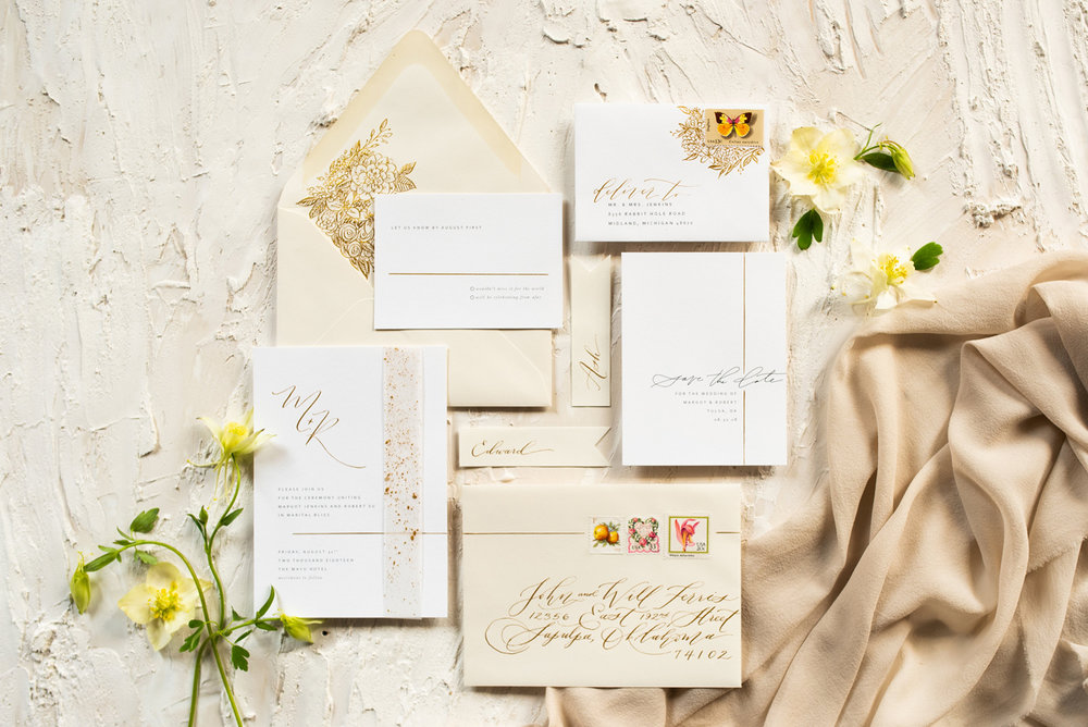 laurelandmarie-wendybobarikin-classic-gold-wedding-invitation-tulsa.jpg