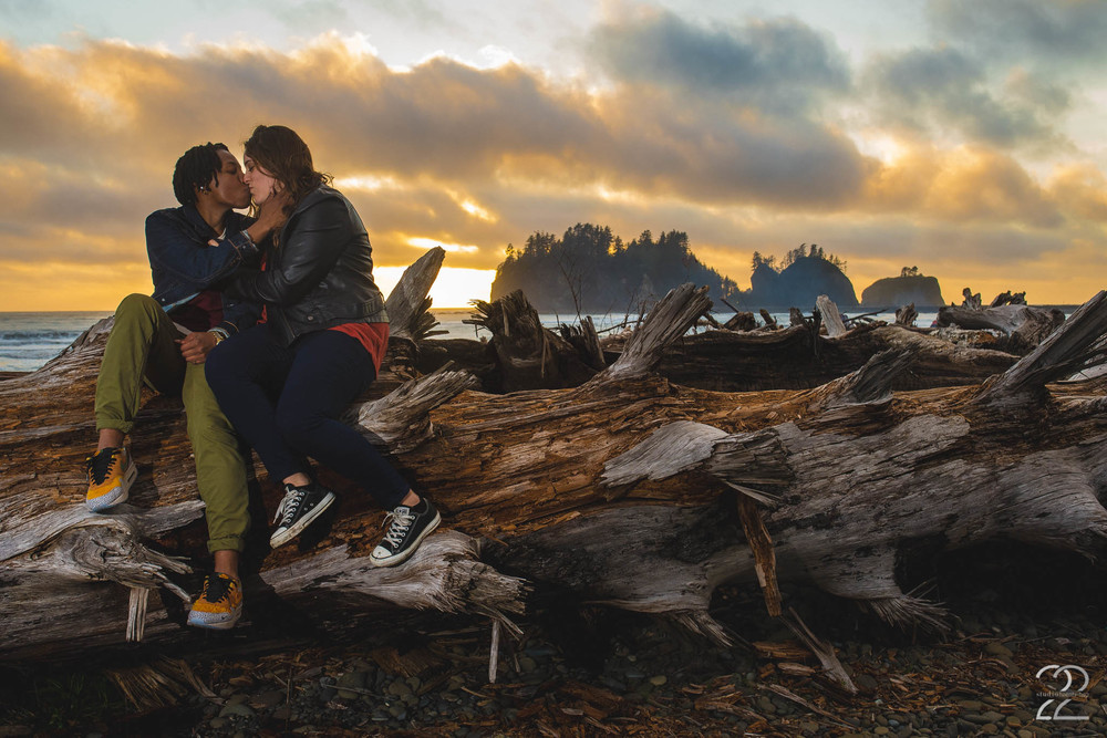 Sunset Washington Coast Engagement