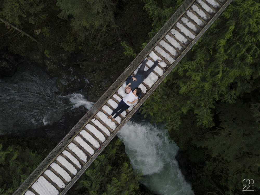 Vancouver Engagement Photos | Engagement Photo Locations in Vancouver | Lynn Canyon Suspension Bridge | Lynn Canyon Engagement Photos | Vancouver Wedding Photographers | Drone Photography | Destination Wedding Photographers | Sunrise Engagement Photos in Vancouver