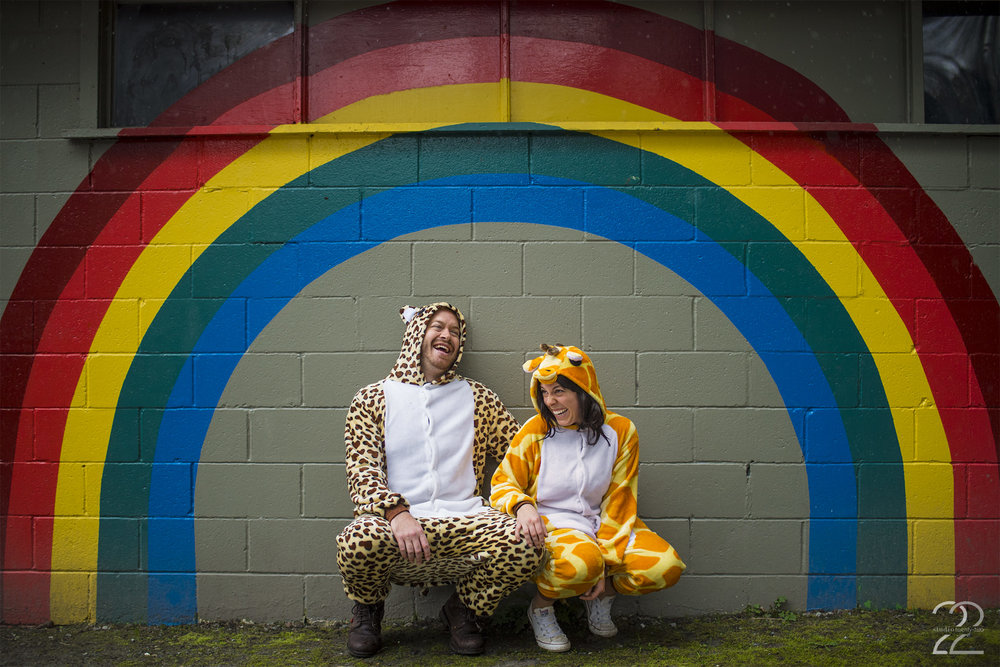 Vancouver Engagement Session | Silly Engagement Photo | Animal Onesie Engagement Photos