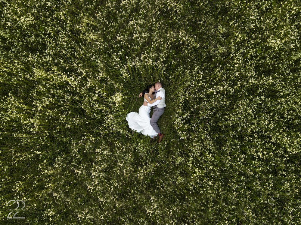 The Honey Farm wedding photo | dayton wedding photographer | drone wedding photo