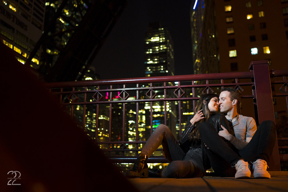 Chicago Engagement Photos | Kinzie Street Bridge Chicago | Off Camera Flash Portraits | Chicago Wedding Photographers | Chicago Portrait Photographer