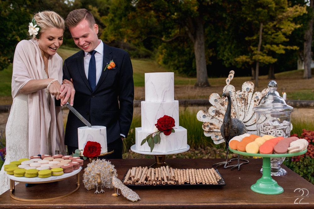 Blush Arrow Cakes | Cake Cutting Wedding Day | Bryn Du Mansion Weddings | Columbus Wedding Photographers | Wedding Photographers in Dayton | Columbus Wedding Photography