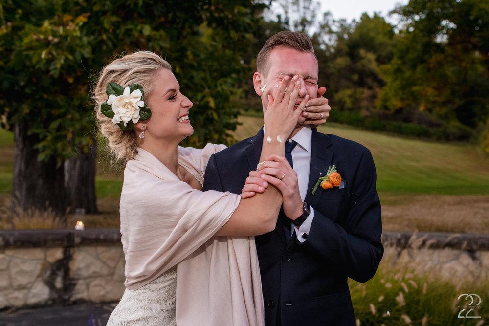 Cake Smash at Wedding | Bryn Du Mansion Weddings | Columbus Wedding Photographer