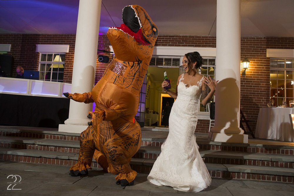 Bay Preserve at Osprey | Destination Wedding Photographers | Florida Destination Weddings | Wedding Reception Ideas | T-Rex Blow Up Suit Wedding