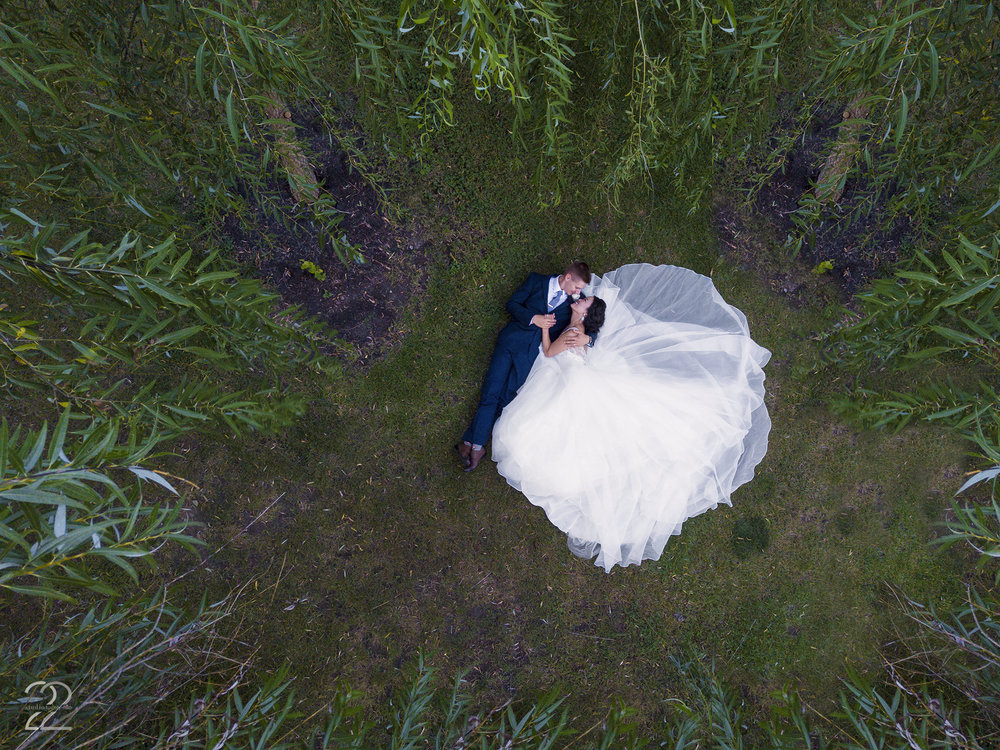Drone Wedding Photography | Best Wedding Photographers in the US | Dayton Wedding Photographers | The Willow Tree Weddings | Creative Wedding Photos | Fearless Photographers