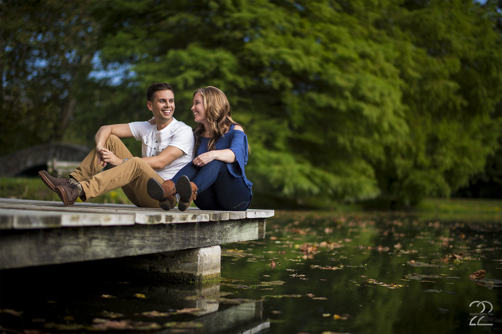 Eastwood Metro Park is one of my favorite places for Dayton engagement photo sessions. Above you'll see one of the docks at the park. There are plenty of areas to use in the park for amazing engagement photos, but the docks and bridges over the water features are some of my favorites. Choosing rich tones that compliment the greenery of the area is a great idea, and as you can see, blues and khakis are always a great choice for outdoor engagement photos!