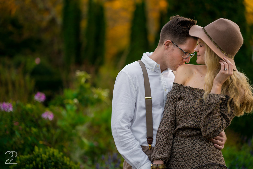 In the flower garden area of Wegerzyn Gardens, it can almost give the feel of a Monet painting come to life. The beautiful flowers give a perfect backdrop for more intimate engagement photos, and in the autumn when the leaves are changing on the trees, but the hedges are still green, you get the beautiful look you see above!