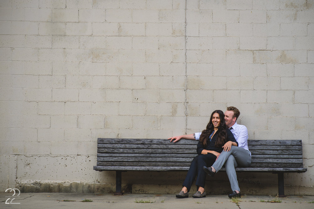 These two are smiles no matter where you take them...so much so that even a simple bench looks amazing when they're hanging out! Alex and Sam wandered downtown Dayton with me for part of their engagement session, and we found a few wonderful nooks I'd never even known were there. The beauty of downtown Dayton is there's something new around every corner. It's amazing how varied photos can be downtown, and there's a little something for everyone.