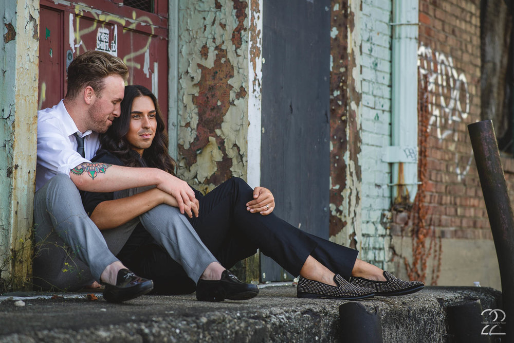 Sometimes the beautifully manicured areas of downtown Dayton aren't necessarily your vibe, and that's totally cool! I love exploring the more urban, worn areas of Dayton as well. The fantastic textures of the peeling paint, the rust, and the grit is perfectly juxtaposed with the style and masculine elegance Alex and Sam possess. They were a blast to photograph in all scenarios!