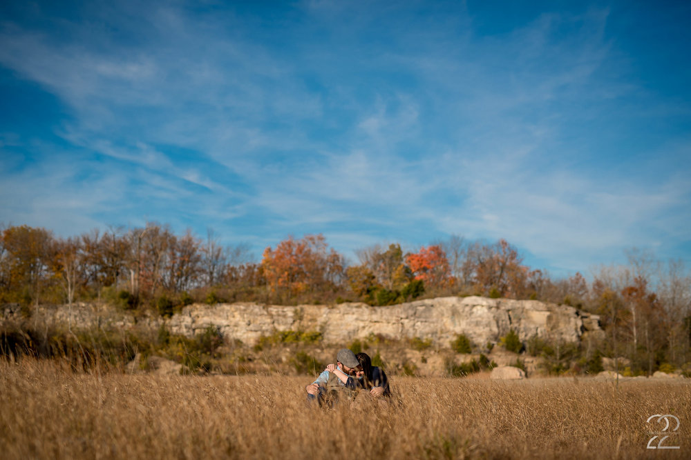 Autumn is one of my favorite times to photograph engagement sessions, and the quarry does not disappoint! The bold colors of the leaves changing, with the tall grasses, and the beautiful rocky outcroppings lend for some spectacular views that many times people don't attribute to Ohio. however, they're absolutely possible, and totally stunning! Dayton engagement photos don't have to be status quo if your wedding and engagement photographer knows where to take you, and stopping by the quarry is always a win.