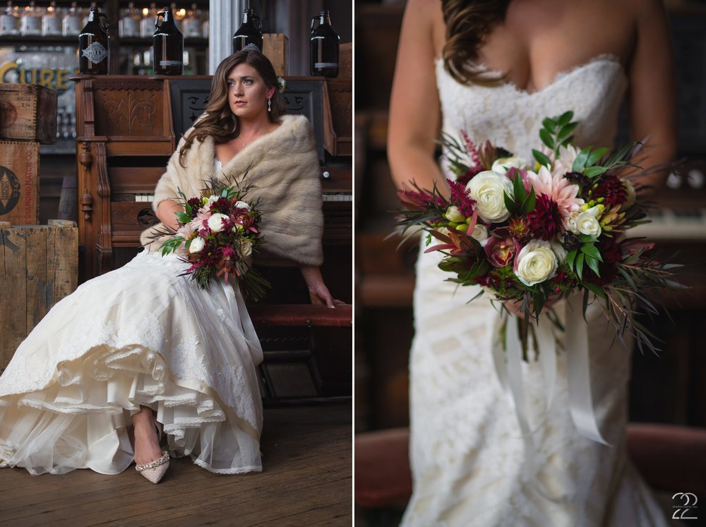This beautiful bridal bouquet was styled by Sherwood Florists for an autumn wedding.