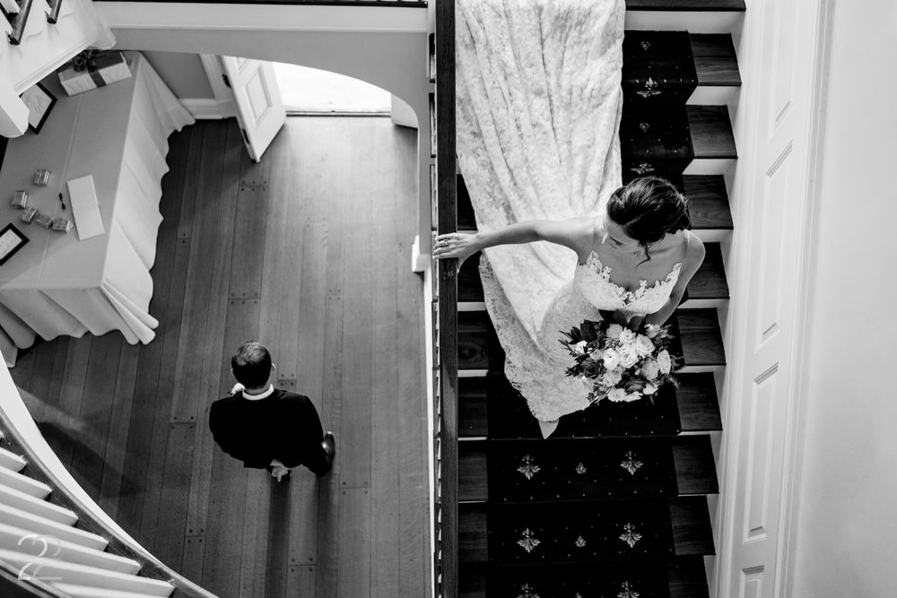 The house in French Park in Cincinnati was such a fantastic location for a first look. Megan was able to stay on the upper level while Morgan descended the stairs to Caleb, allowing for a spectacular vantage point to capture the moment.