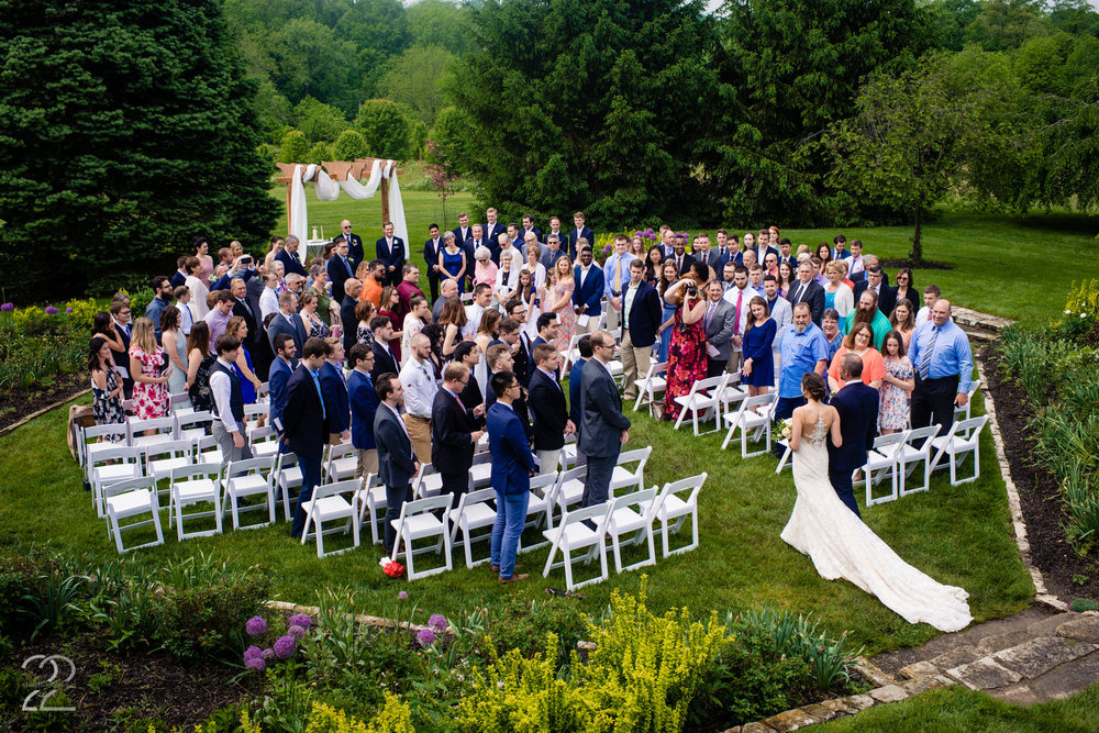 Cincinnati is filled with gorgeous parks and venues like Ault park and Devou Park, however The French House at French park blew us away for their outdoor ceremony venue. The manicured lawns and gardens created the most picturesque backdrop for ceremony photos.
