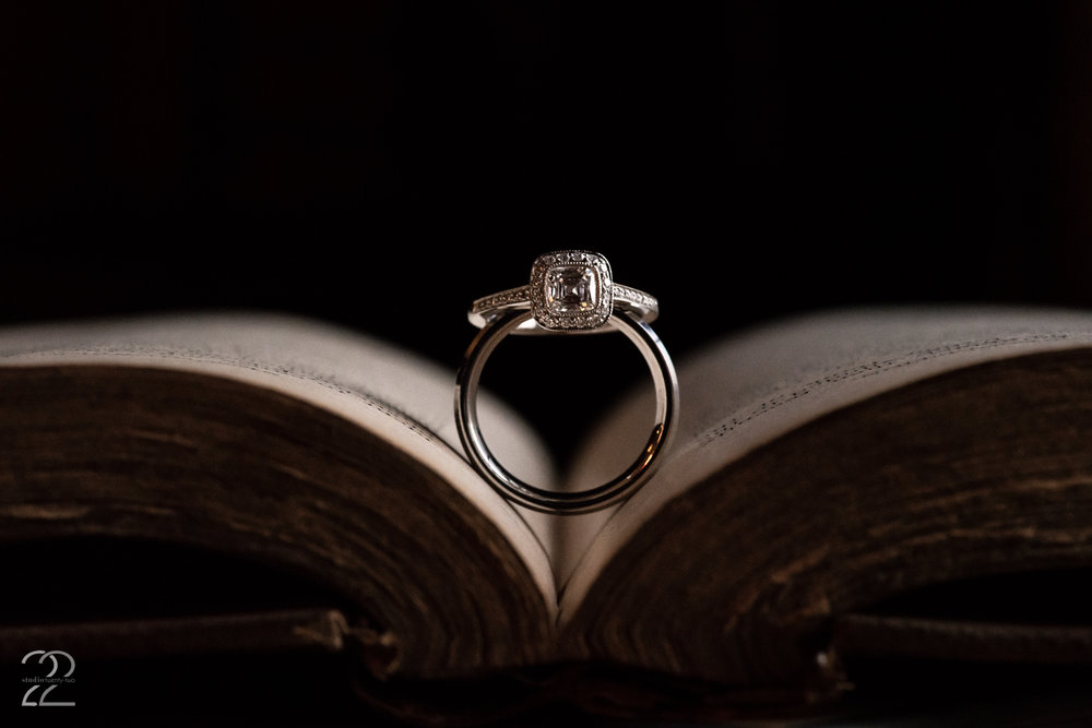 You look at your wedding rings every day, so Megan believes that your ring shot should be something special in order to grab your attention. Using an old book from 3 West Club Hotel's library was a great way to bring the old world feel and the new beginnings of this marriage together.