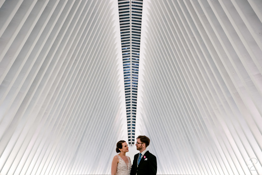 New York City is full of endless opportunities for outstanding wedding photos, so choosing a spot for unique bride and groom portraits was a tough decision. Megan ended up taking Kenton and Sarah to Oculus for a modern, clean, urban look.
