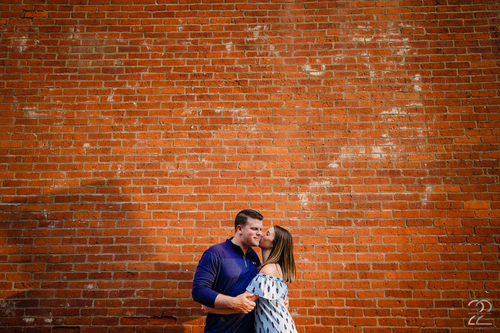 When choosing what to wear for engagement photos solid colours and very simple patters work great because they allow the photographer to place you in a variety of locations and not worry about it looking too busy or the background not working with your look.