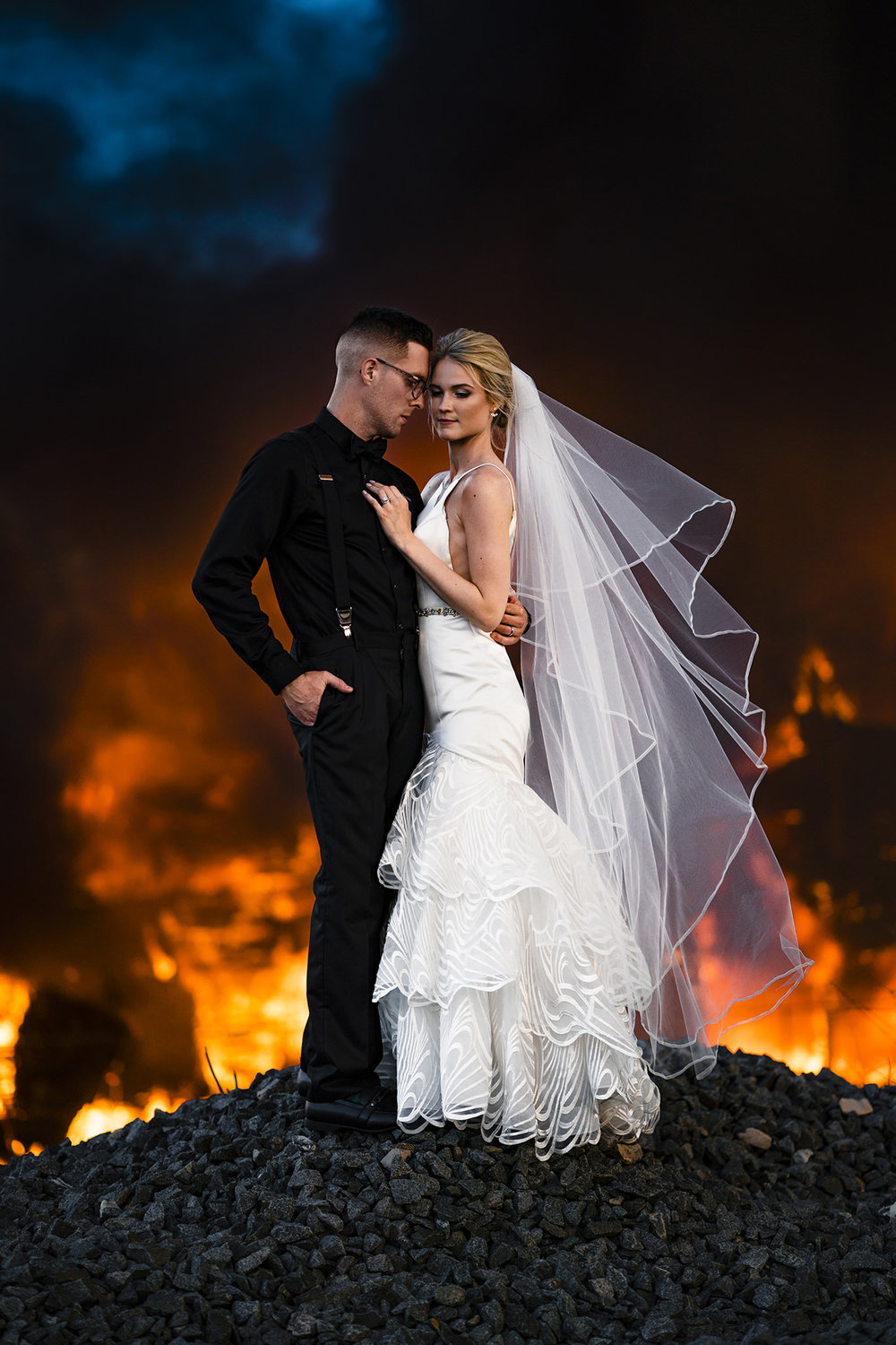 Fire Wedding Photo - Dayton Wedding Photographers - Studio 22 Photography