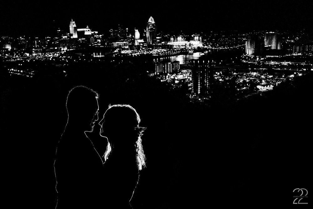Drees Pavilion has the best view of the Cincinnati skyline around. As such, there was not a doubt in Megan Allen's mind that she needed to find a way to highlight this for Annie and Sung's wedding. This beautiful night portrait is yet another way Studio 22 brought in multiple elements to create a stunning and meaningful image for her couple.