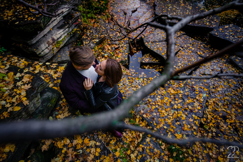 Cool October days, freshly fallen leaves and steamy love between Karlee and Patrick made for perfect Chicago engagement photos. Sometimes it just takes a creative eye and a couple who trust you to make magic happen.