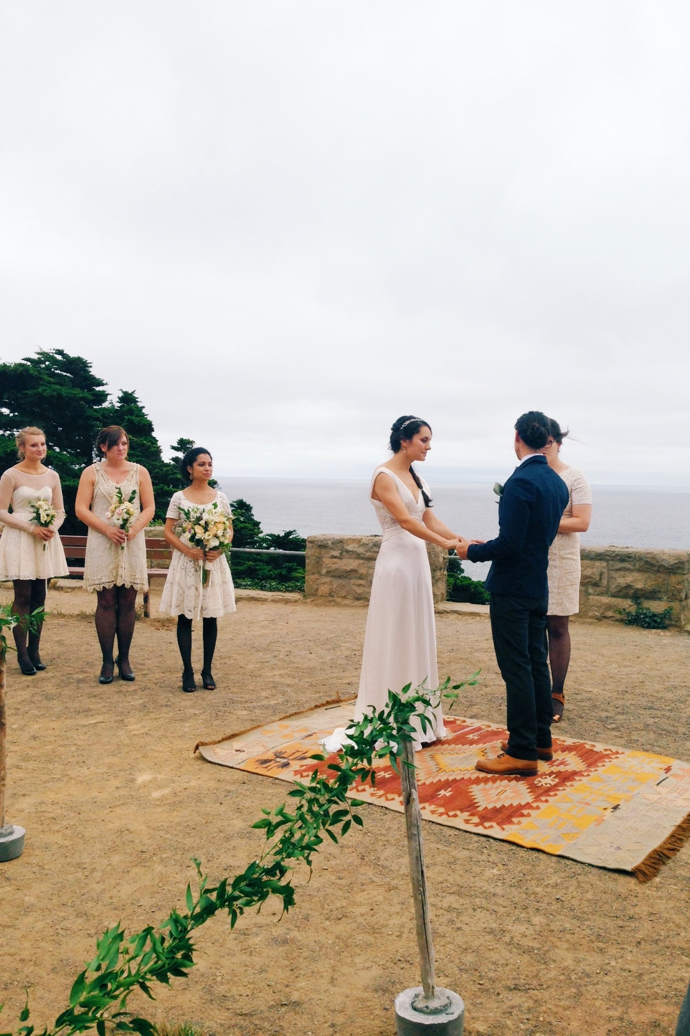Wedding Day of Sarah and Daniel at Sutro Heights Park overlooking the Pacific.