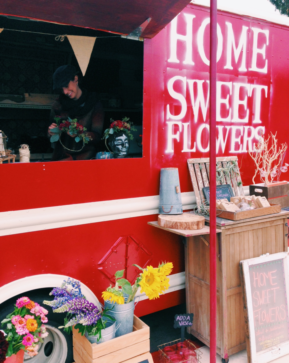 Check out Off the Grid Picnic at the Presido. There are great local food vendors with lush grassy hills. Be sure to stop by this adorable flower truck and get yourself a flower wreath!