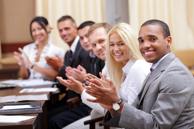 happy people in business meeting