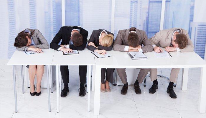 sleeping in business meeting