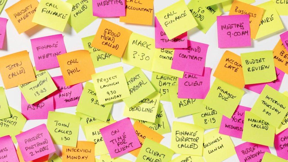 sticky notes of tasks