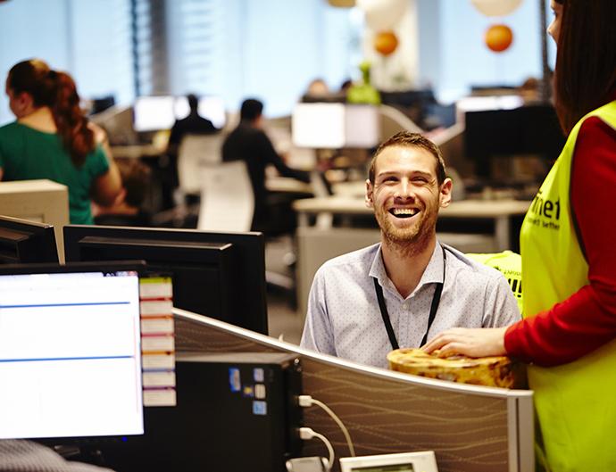 happy employee in workplace
