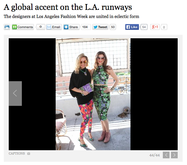Here again we are mentioned for bringing diversity and new concepts to LA Fashion Week.