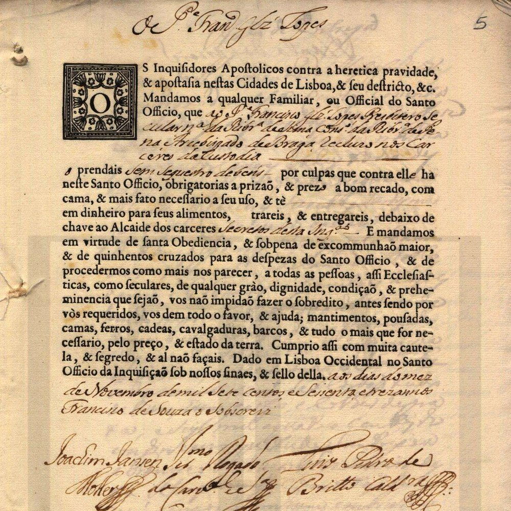 "Excerpt from ""Processo do Padre Francisco Gonçalves Lopes e de Rosa Maria Egipcíaca"" (1763-67), courtesy of the Arquivo Nacional da Torre do Tombo."