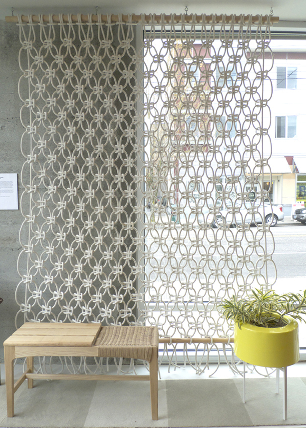 7' x 6'. Cotton Rope. 2011.  Room divider created during first year of graduate school and later exhibited at the shops Golden Rule, and Relish, in Portland, Oregon.