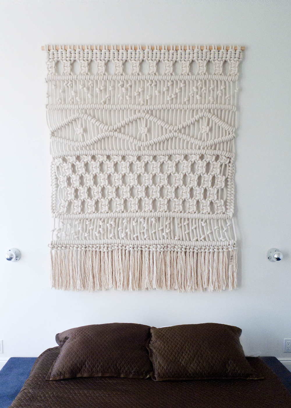 5' x 6'. Cotton Rope. 2013. Custom wall hanging created for a private residence in Brooklyn, New York.