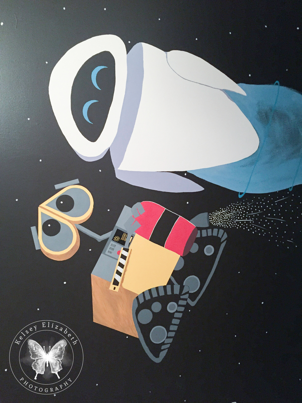 Pixar Wall-E Mural; Wall-E bedroom; Disney bedroom; Disney mural; Children's bedroom