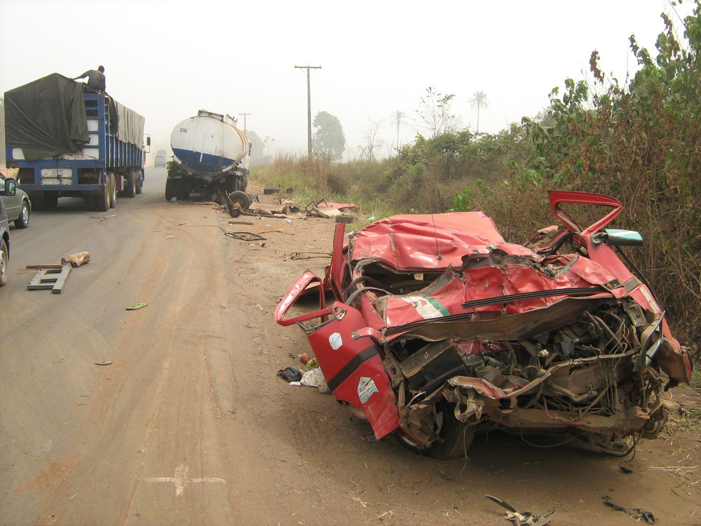 The aftermath of a road crash in Nigeria.  Photo courtesy of Safety Beyond Borders