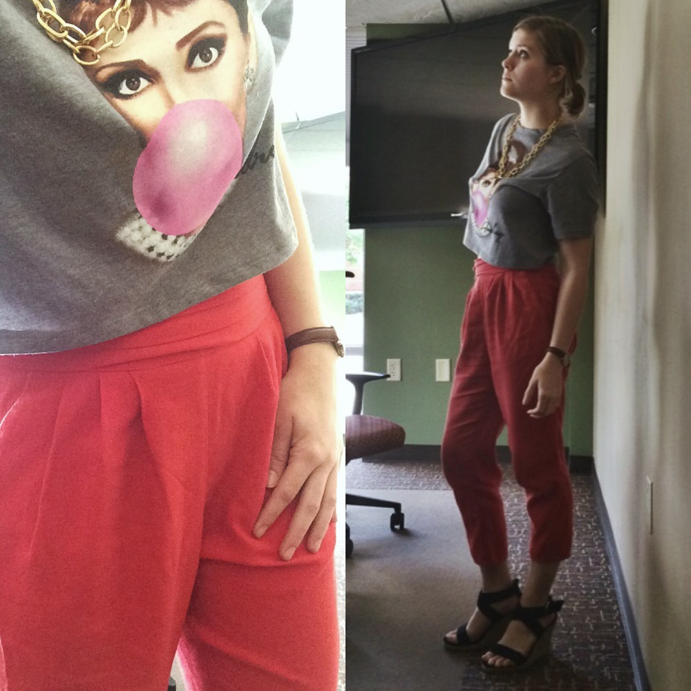 To celebrate Mean Girls Day, I rocked a pair of pink harem pants, a new crop top (yes, I've seen Breakfast at Tiffany's) and my favorite wedges