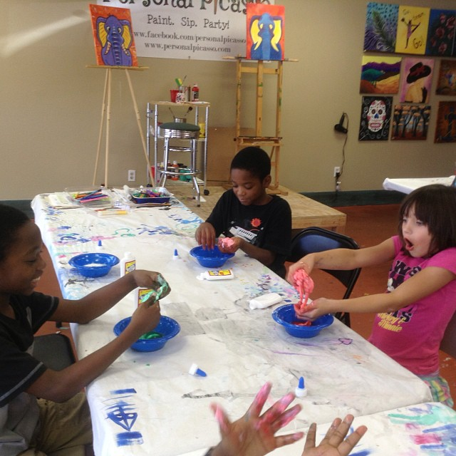 Taking a break from painting at our kids art camp! Slime time! #painting #PersonalPicasso #summer