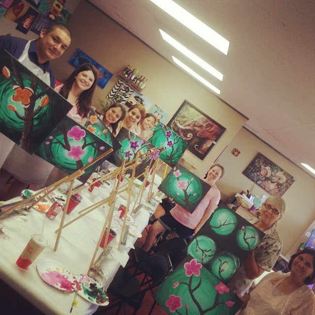 Such a fun class! #paintparty #painting #party #personalpicasso #paintsipparty #wine