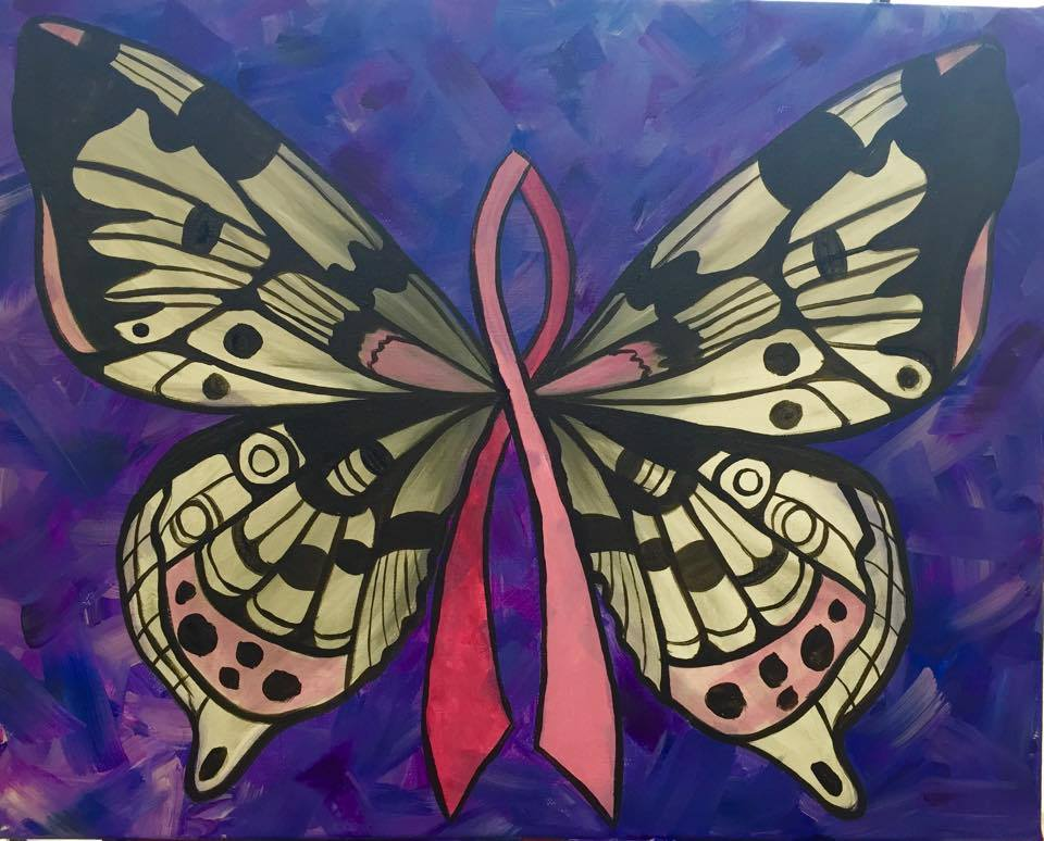 """Cancer Ribbon Butterfly"" - Customizable - 2 hours"