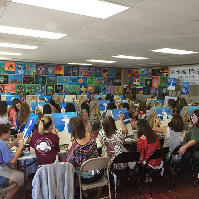 Full house today! #personalpicasso #fullhouse #paint #deltagamma #momanddaughter
